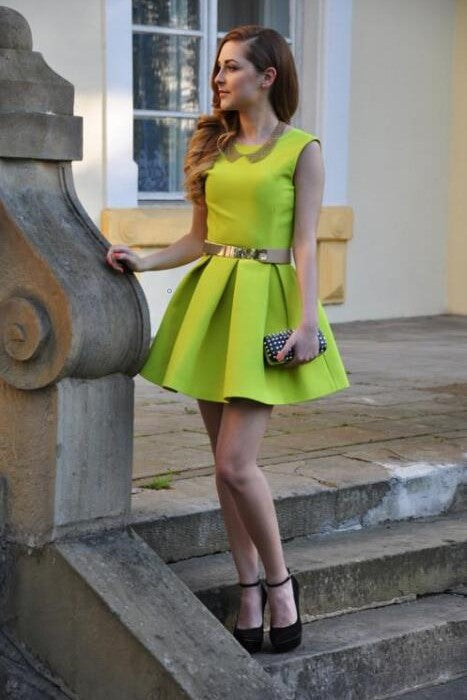 satin-neon-yellow-homecoming-dresses-with-belt