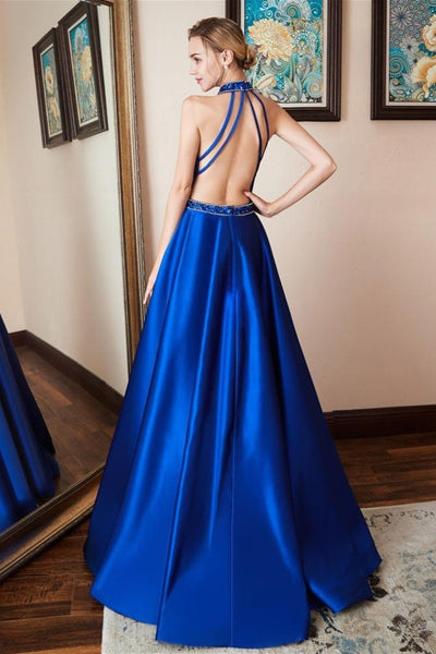 satin-royal-blue-prom-dress-beaded-halter-neckline-1