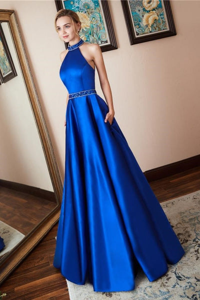 satin-royal-blue-prom-dress-beaded-halter-neckline
