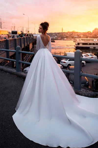 Satin Royal Inspired Cathedral Train Wedding Gowns Long Sleeves