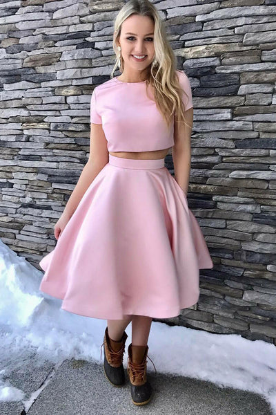 satin-short-sleeves-pink-homecoming-dresses-two-piece