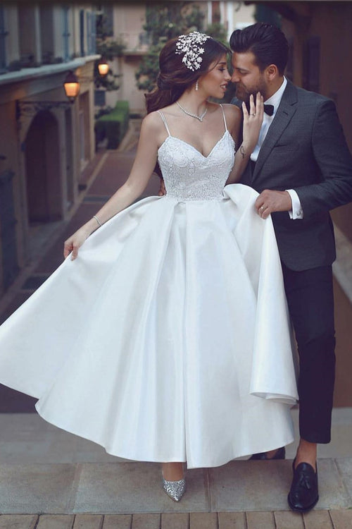 satin-short-white-bridal-dresses-with-beaded-lace-bodice