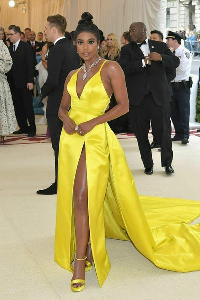 Satin Yellow Celebrity Prom Dress with Plunging V-neckline