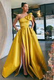 Satin Yellow Prom Dress with Bow Single Shoulder