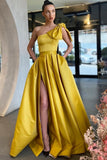 satin-yellow-prom-dress-with-bow-single-shoulder