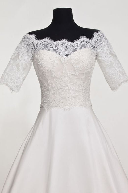 Short Sleeves Bridal Wedding Jackets Bolero with Beaded Lace