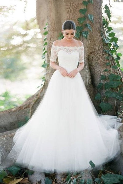 c8904ce6f27 Scalloped Lace Off-the-shoulder Wedding Gown Dress with Tulle Skirt –  loveangeldress