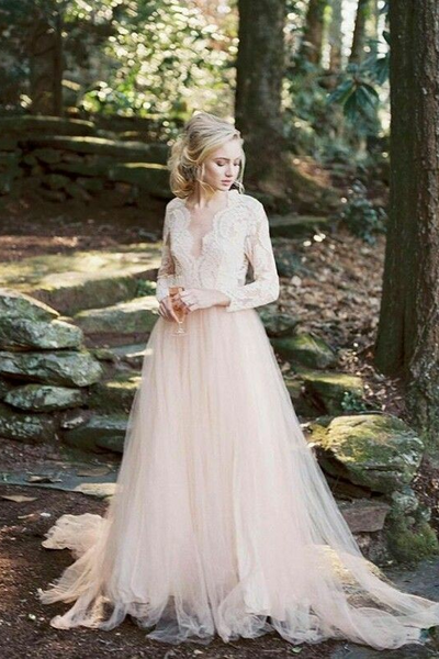Blush Wedding Dress.Scalloped Lace V Neck Blush Wedding Dress Long Sleeves Vestido De Casamento