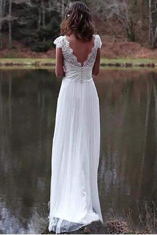 Backless lace wedding dress with scallop neckline and mint lining