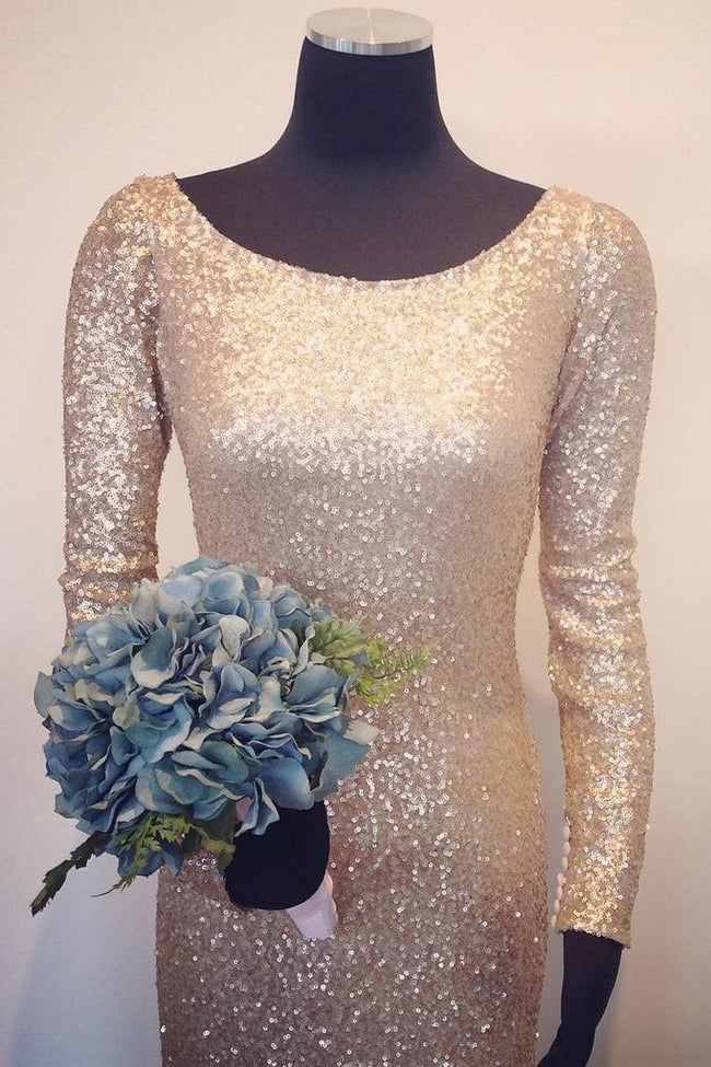 scoop-neck-gold-sequin-bridesmaid-dresses-long-sleeves-1