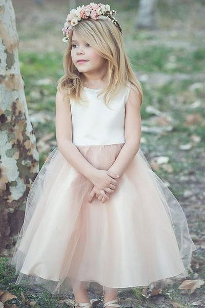 4d5063d0a77 Scoop Neck Ivory Champagne Flower Girl Dress with Tulle Skirt –  loveangeldress