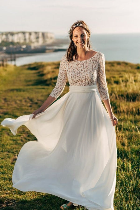 Illusion Neck A-line Lace Boho Wedding Dress with Tulle Skirt