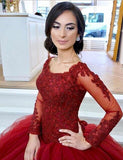 scoop-neck-lace-tulle-red-ball-gowns-long-sleeved-evening-dresses-1