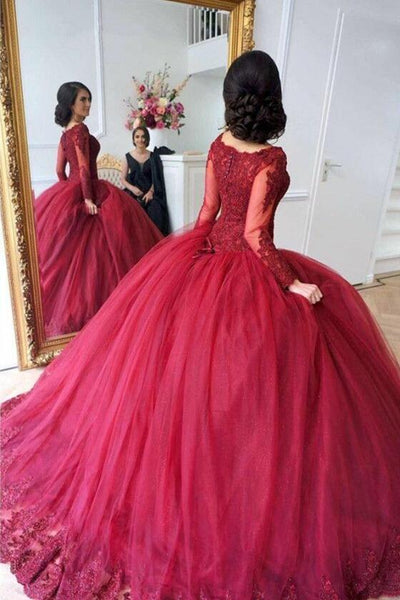 scoop-neck-lace-tulle-red-ball-gowns-long-sleeved-evening-dresses