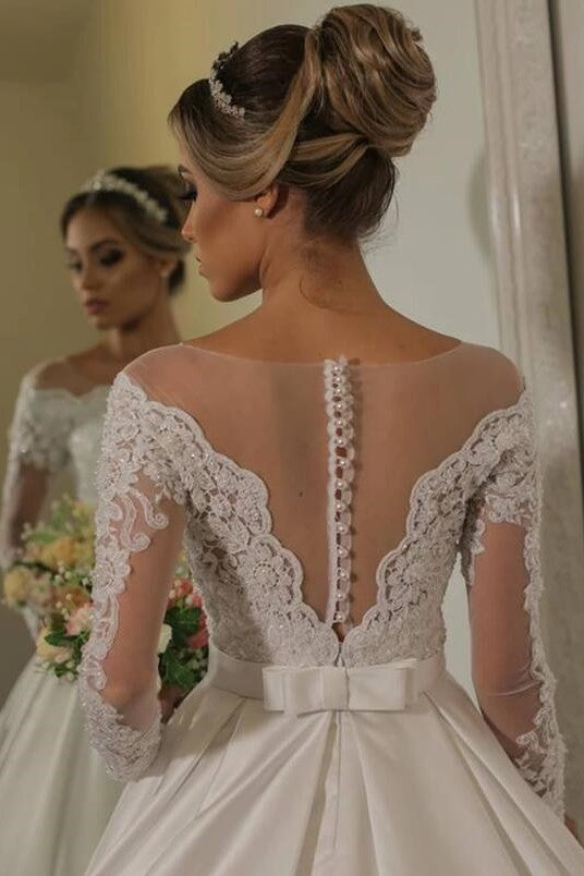 see-through-lace-long-sleeves-bridal-gown-satin-skirt-1