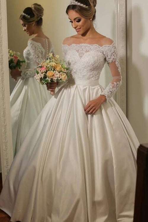 see-through-lace-long-sleeves-bridal-gown-satin-skirt