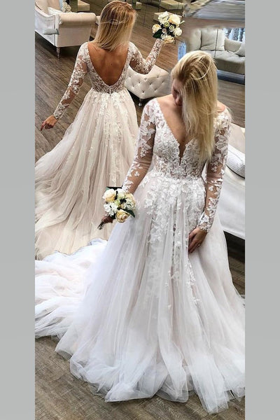 see-through-lace-long-sleeves-wedding-gowns-tulle-skirt