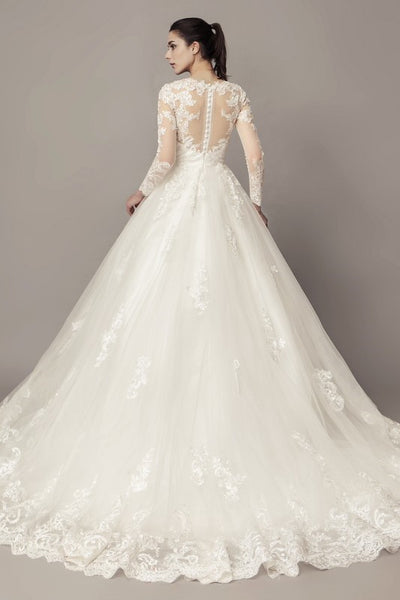 see-through-long-sleeves-ball-gown-wedding-dress-lace-tulle-cathedral-train-1