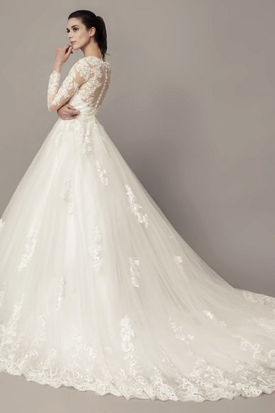 see-through-long-sleeves-ball-gown-wedding-dress-lace-tulle-cathedral-train-2