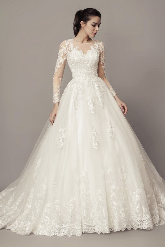 a5754d6828cdb See-through Long Sleeves Ball Gown Wedding Dress Lace Tulle Cathedral Train