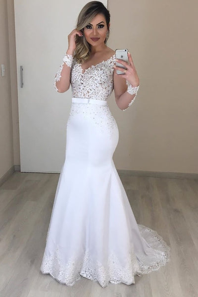 See-through Long Sleeves Wedding Gown Style with Scalloped Lace Train