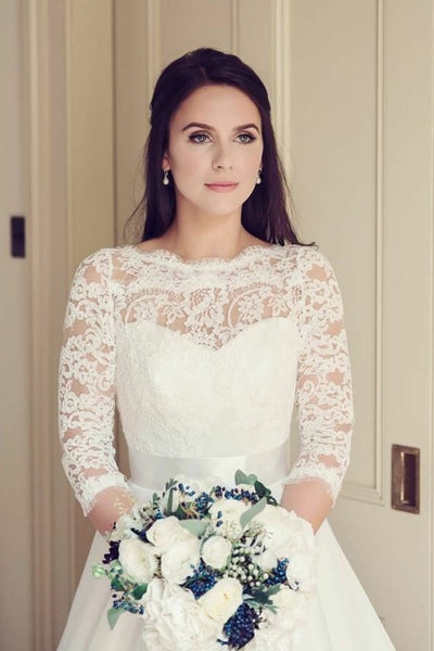 see-through-neckline-lace-ivory-wedding-dresses-34-sleeves-1