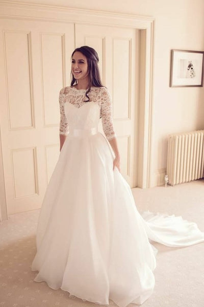 See Through Neckline Lace Ivory Wedding Dresses 3 4 Sleeves