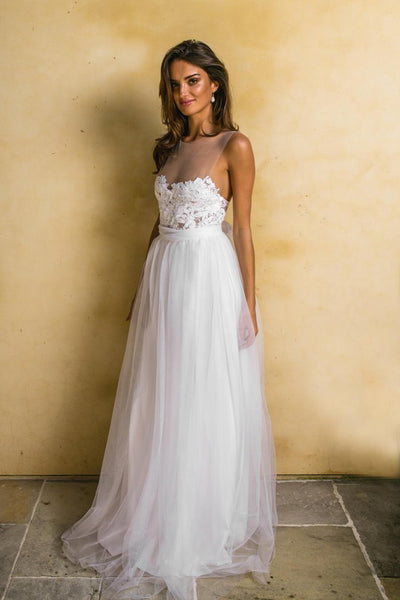 see-through-neckline-lace-tulle-bride-boho-wedding-dresses-2018