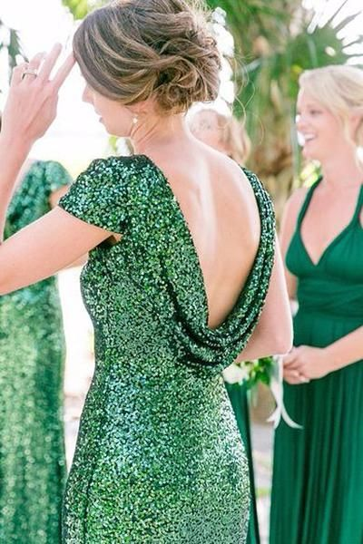 sequin-emerald-green-wedding-party-dresses-with-short-sleeves