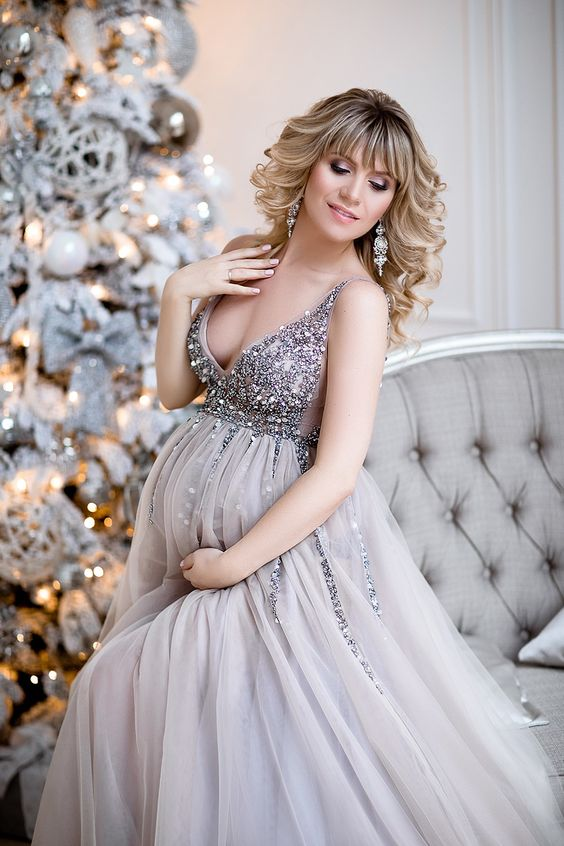 sequin-maternity-dresses-baby-shower-gowns-with-tulle-skirt-1
