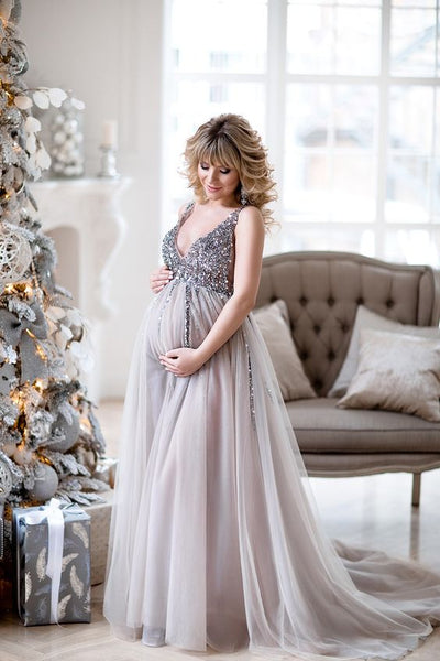 sequin-maternity-dresses-baby-shower-gowns-with-tulle-skirt