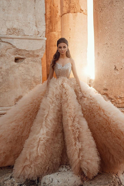 sequin-sweetheart-champagne-wedding-gown-ruffled-skirt