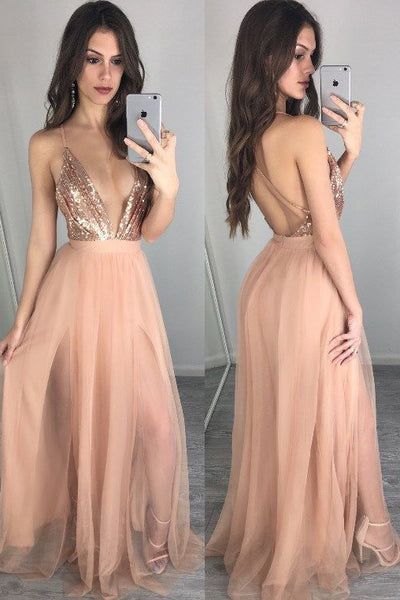 sexy-plunging-v-neck-sequin-blush-prom-gown