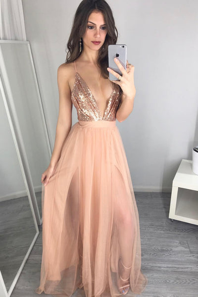 690217715cab4 Sexy Plunging V-neck Sequin Blush Prom Night Gown – loveangeldress