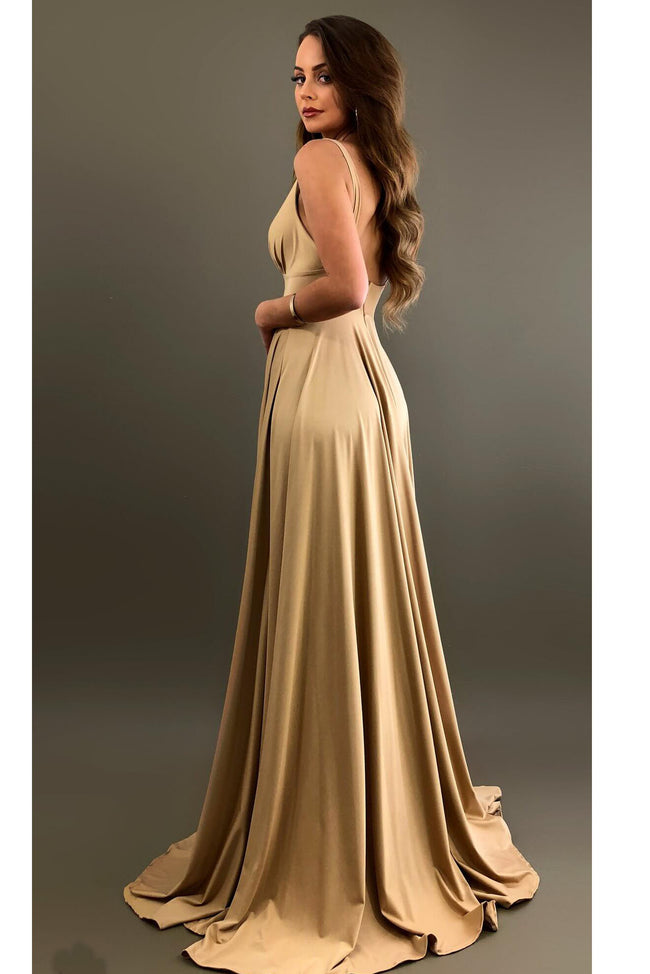 sexy-v-neckline-a-line-champagne-bridesmaid-gown-with-side-slit-1