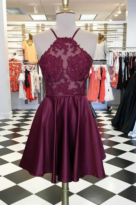 Floral Lace Lavender Prom Dresses with Strappy Back