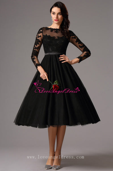 sheer-boat-neck-lace-tulle-black-short-prom-dresses-with-sleeves
