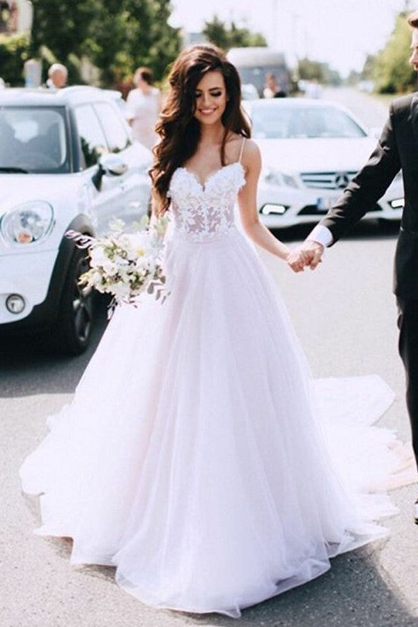 b177a5e398 Sheer Lace and Tulle Sweetheart Wedding Dress with Thin Straps ...
