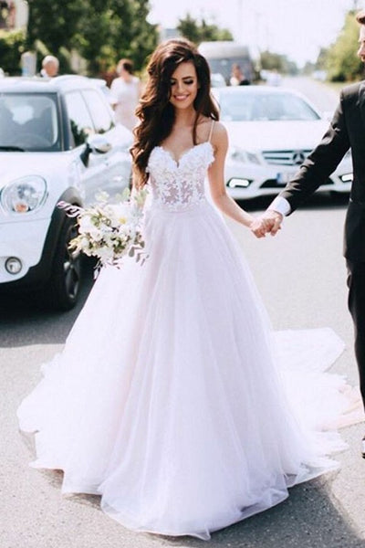 Sweetheart Wedding Dress.Sheer Lace And Tulle Sweetheart Wedding Dress With Thin Straps