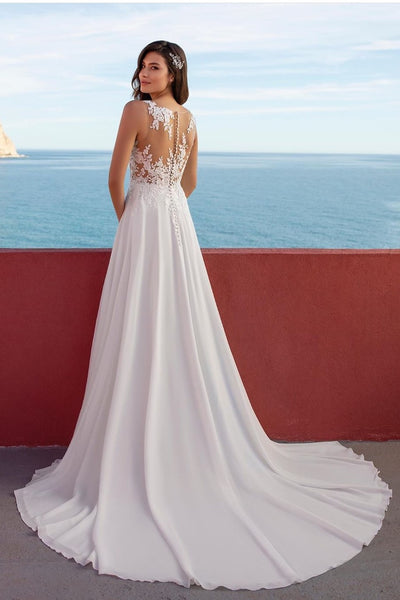 sheer-lace-beach-wedding-dress-chiffon-long-train-1