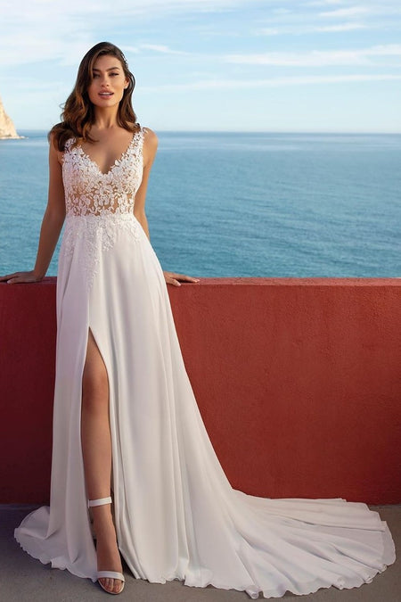 Beaded Appliques V-neck Sheath Destination Wedding Gown with Spaghetti Straps