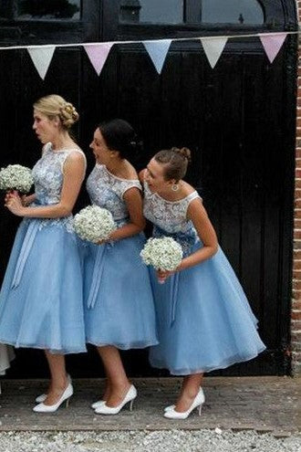 sheer-lace-bodice-blue-bridesmaid-gown-tea-length-1