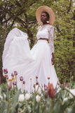 sheer-lace-long-sleeve-wedding-dress-two-piece-chiffon-skirt