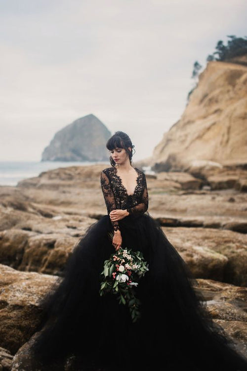 sheer-lace-long-sleeves-black-wedding-dress-with-plunging-v-neck