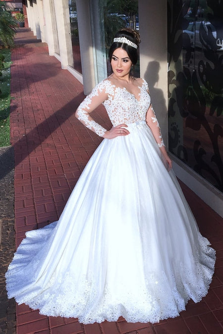 Illusion Lace White Tulle Wedding Gown 2020 vestido de casamento