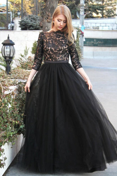 sheer-lace-tulle-black-prom-dresses-with-3-4-sleeves