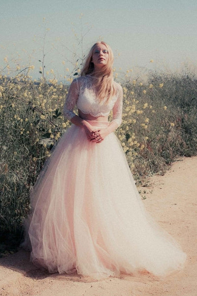 sheer-lace-two-piece-wedding-dress-blush-pink-tulle-skirt