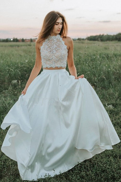 sheer-lace-two-piece-wedding-dresses-satin-skirt