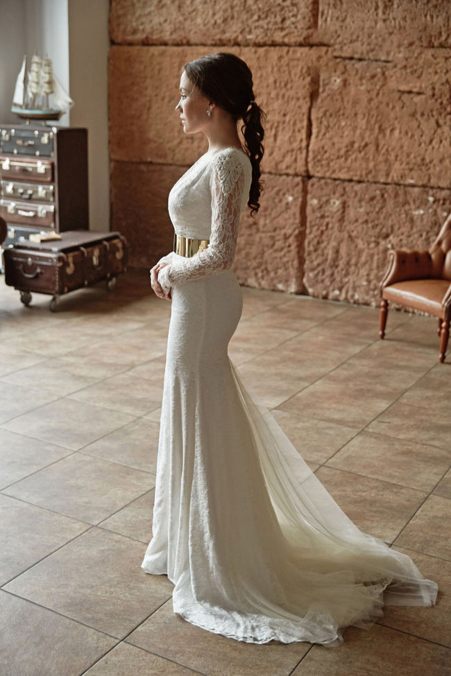 sheer-long-sleeveless-lace-bridal-gowns-with-gold-belt-1