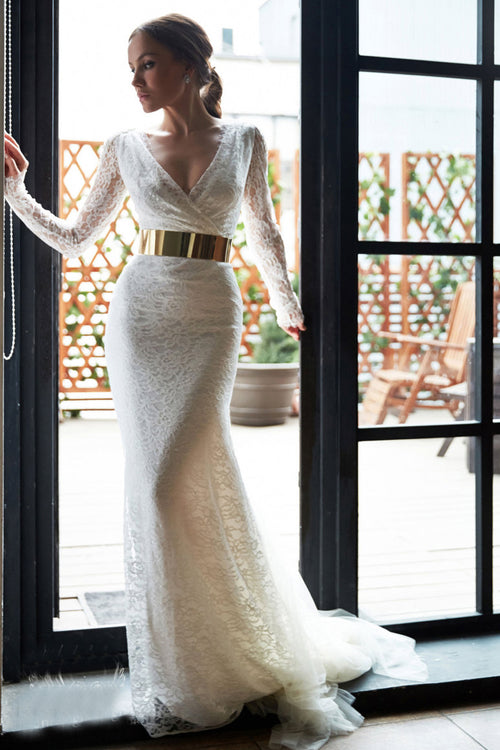 sheer-long-sleeveless-lace-bridal-gowns-with-gold-belt